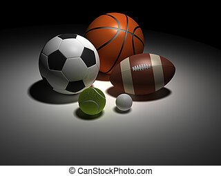 Sports balls - Basketball, soccer, rugby, tennis and golf...