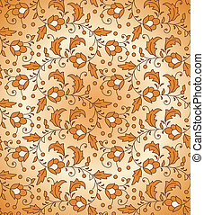 Seamless orange floral pattern