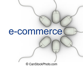 e-commerce - E-commerce world and computer mouses - 3d...