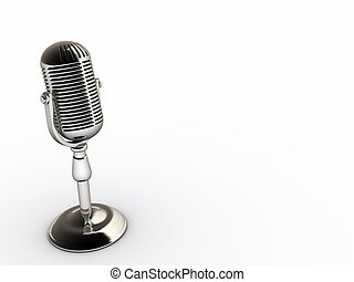 Microphone - A chromed microphone on white background -...