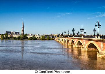 Bordeaux river bridge with St Michel cathedral, Bordeaux,...