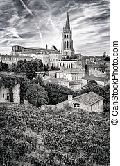 St Emilion village in Bordeaux region, monochrome view,...