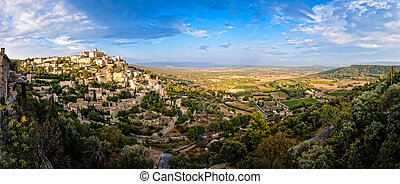 Gordes medieval village panorama sunset view, France, Europe