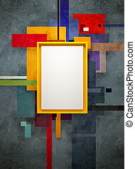 abstract art composition in museum, 3d render
