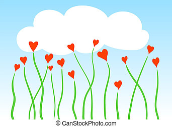 vector heart flowers with cloud, card template