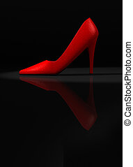 Red shoe - A red womens high heel shoe - rendered in 3d