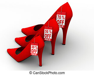 Reduction - Three women\\\'s high heel shoes with discount...