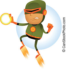 Flying Comic Superhero - Illustration of a cartoon orange...