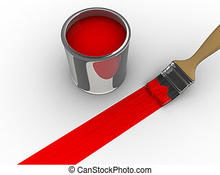 Red paint - A brush painting a red line and a paint can - 3d...