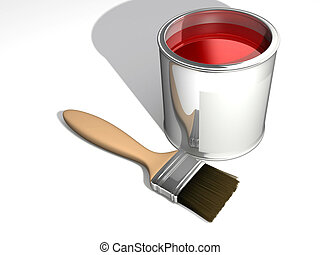 Red paint cans and a brush - rendered in 3d