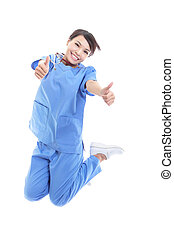 woman doctor jumping with thumb up - cheerful young female...