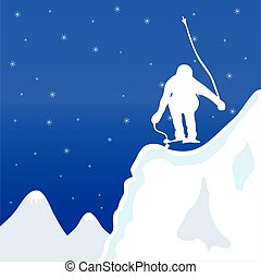 skiing and jupm man in winter vector illustration