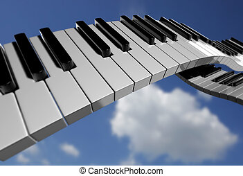 Piano key on sky - Conceptual piano key on sky background -...