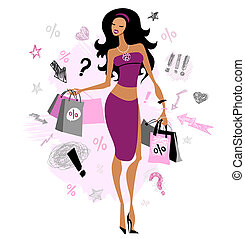 Shopping girl - Woman with shopping bags Vector illustration...