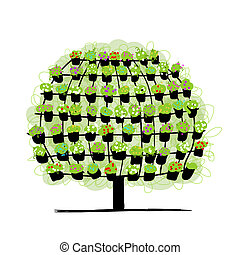 Green tree made from floral pots, sketch for your design