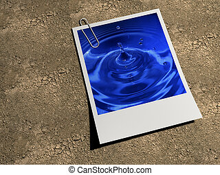 Mirage - Water picture printed on polaroid on dray land - 3d...