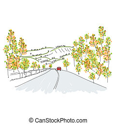 Red car on country road, sketch for your design