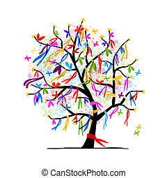 Abstract tree with ribbons for your design