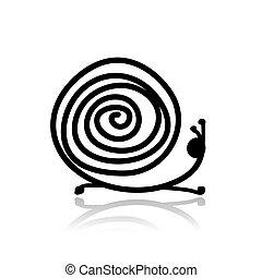 rigolote, escargot, croquis, ton, conception