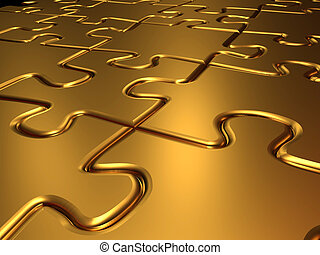 Golden jigsaw puzzle - Background of gold jigsaw puzzle -...
