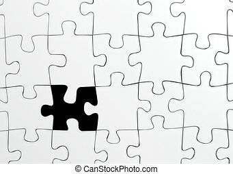 Missing piece - White jigsaw puzzle with a single missing...