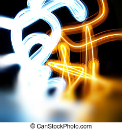 abstract light painting - abstract painting created by long...