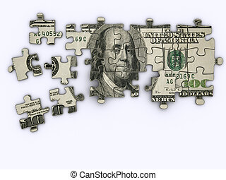 Dollar jigsaw puzzle - One hundred dollar on jigsaw puzzle -...