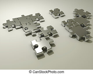 Jigsaw puzzle - Conceptual chromed jigsaw puzzle - rendered...