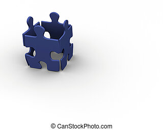 Puzzle team - Four jigsaw pieces suggesting people team - 3d...