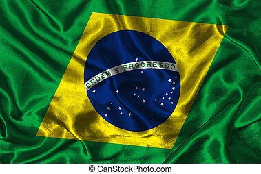 Silk Flag of Brazil - Waving colorful Brazil flag on a silk...
