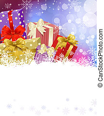 New Years Eve, Christmas background with gifts