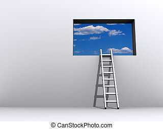 Ladder and sky - Ladder leading to sky - rendered in 3d
