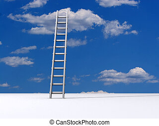 Ladder to sky - Ladder leading to a clouds - rendered in 3d