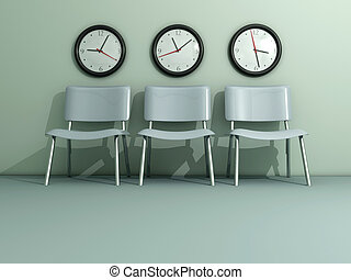 Time passing - Three chair and three wall clock - rendered...