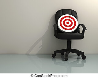 Aspiration - An office chair with a target - rendered in 3d
