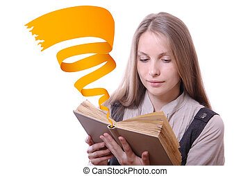 Woman reading a book, isolated - Young woman reading a book...