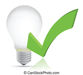 light bulb and check mark illustration design over white