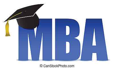MBA graduation tassel hat over white background illustration