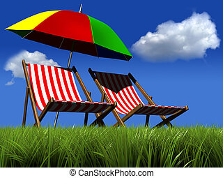 Vacantion - Two lounge chairs and an umbrella in grass -...