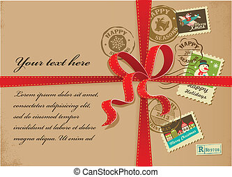 Christmas gift with red ribbon and vintage postage stamps -...