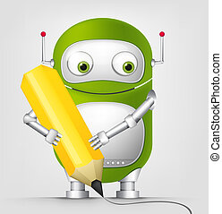 Cute RobotCartoon Character Cute Robot Isolated on Grey...