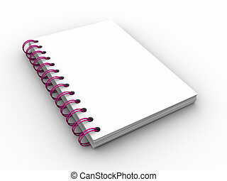 Notebook - A blank spiral bound notebook  - 3d render