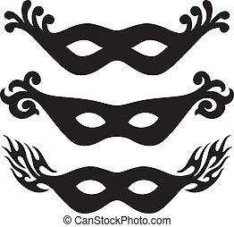 black vector carnival masks (black masks for masquerade)