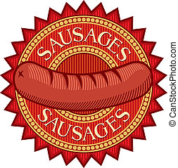 linguiças, etiqueta, (sausage, sign)