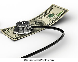 Dollar examination - Financial concept - Stethoscope testing...