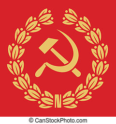 symbol of USSR - hammer, sickle and laurel wreath (ussr...
