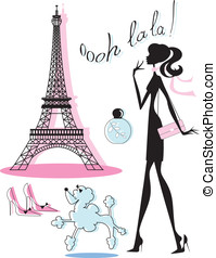 French Fashion Icons - Set of French icons including Eiffel...