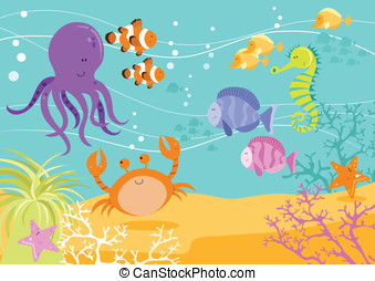 Underwater Fun Scene - Fun illustration of sea creatures...