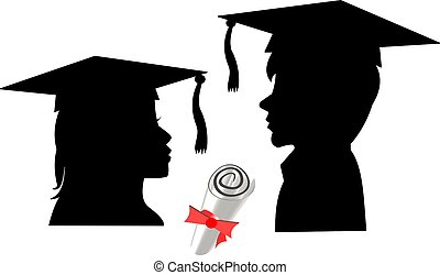 grads in silhouette - 2013 grads facing each other with...