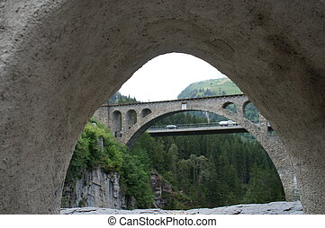 View from the Solis-Bridge, Switzer - View through a bridge...